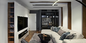 Дерево и геометрия: квартира с современным интерьером и мужским характером