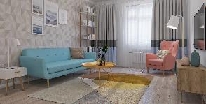 3х комнатная квартира в стилистике 60х годов: проект Flatplan