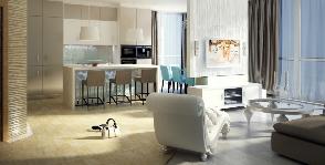 Квартира свободной планировки в морском стиле: проект дизайн бюро «GraniStudio»