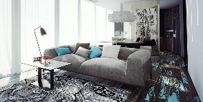<span>Иван Моисеенко и Мария Валина</span> Квартира свободной планировки ломаной конфигурации
