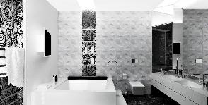 Черно-белая эстетика ванной комнаты: дизайнер Лариса Талис