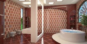 Ванная комната в бордовых тонах: дизайнер Гульфия Мингазова