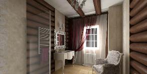 Ванная комната в загородном доме из натуральных деревянных брусьев: дизайнер Мария Богданова