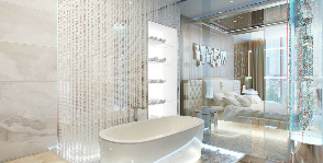 Ванная с прозрачными стенами: дизайнер Катерина Антонович