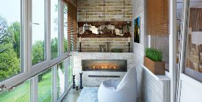 Маленький балкон мечты с камином
