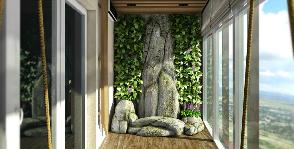 Лоджия со скалой и мини-прудом: дизайнер Владимир Огородников