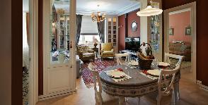 Раздельная кухня-столовая-гостиная: дизайнер Елена Битулева