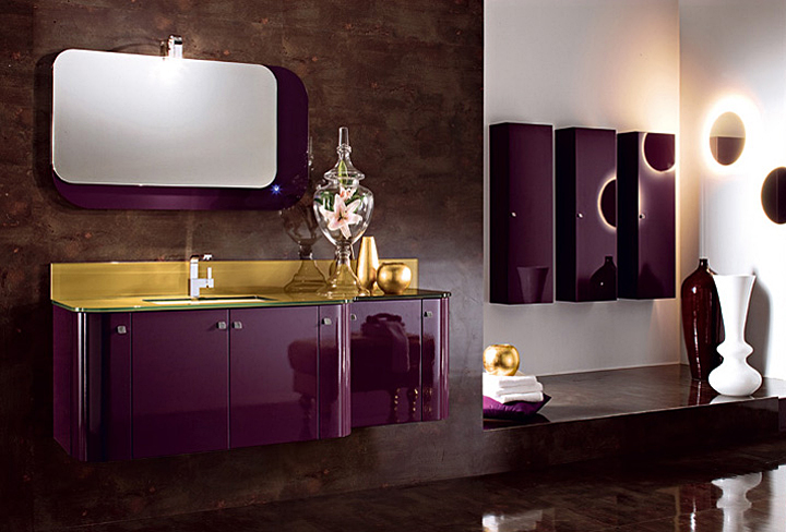 Glossy lacquered spot for Purple and yellow bathroom ideas