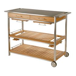 сервировочный деревянный столик на колесах купить