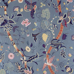 Garden of Eden on blue silk