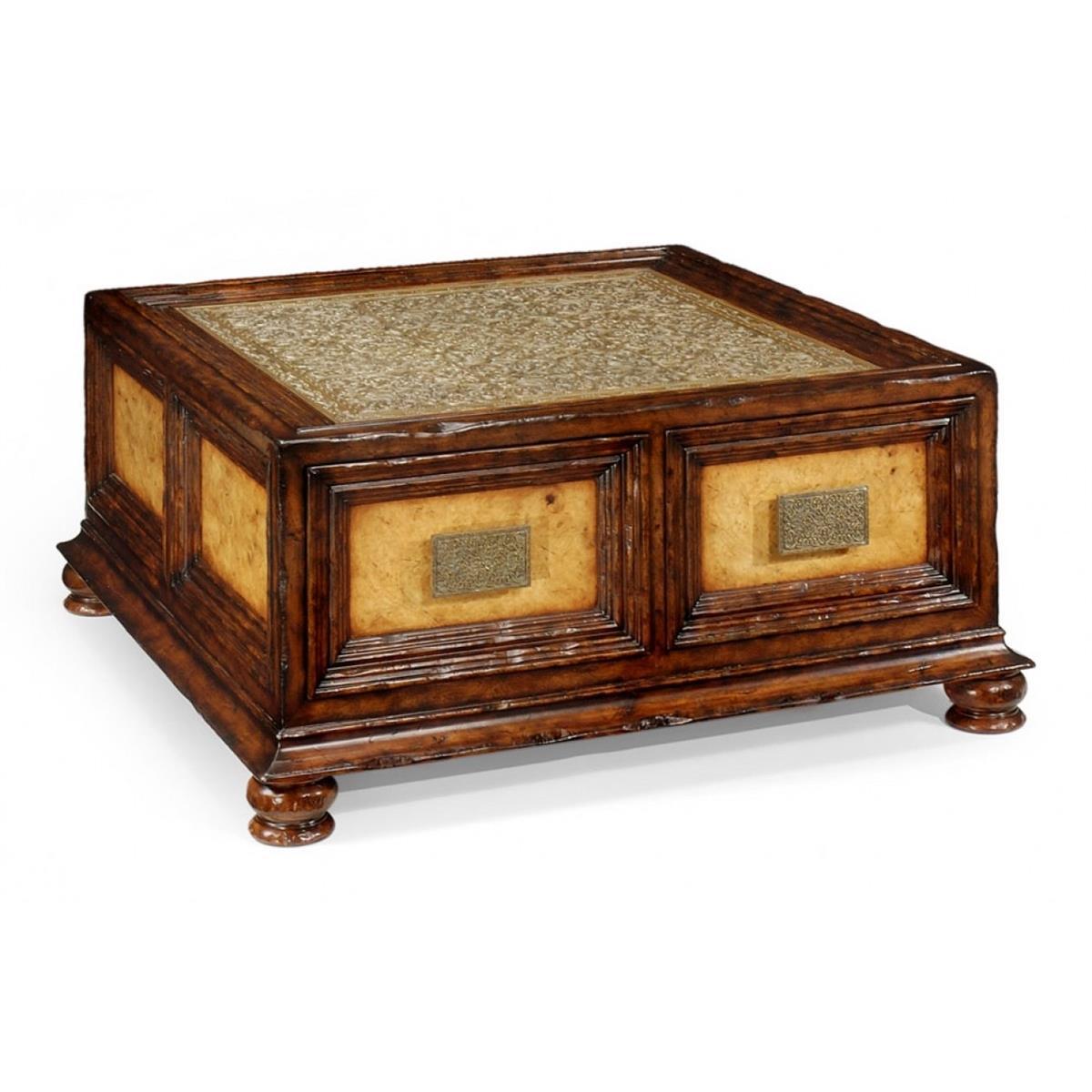 492629 Walnut & Brass Square Coffee Table with Drawers - на 360.ru: цены, описание, характеристики, где купить в Москве.