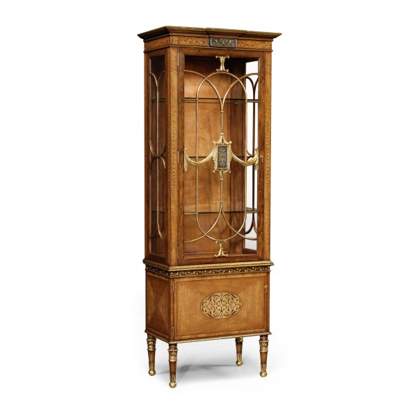 493585 Narrow satinwood display cabinet with eglomise details - на 360.ru: цены, описание, характеристики, где купить в Москве.
