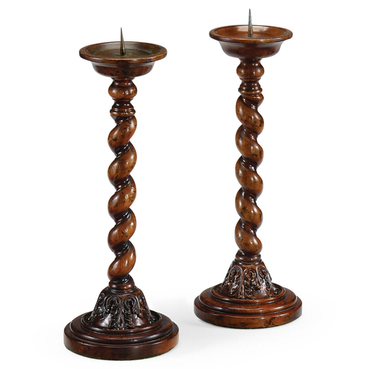 492032 Walnut twisted column candlesticks - на 360.ru: цены, описание, характеристики, где купить в Москве.