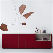 Line sideboards red glas