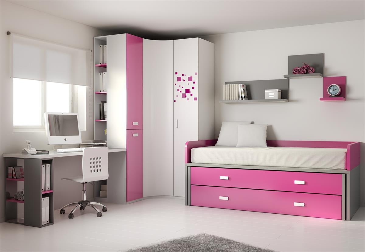 Модульная стенка с кроватью, отделка ярко-розовый матовый ла.