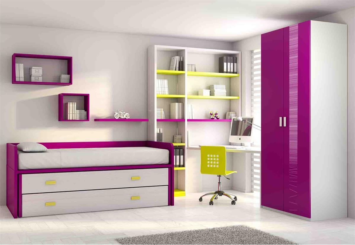 Модульная стенка с кроватью, меламин фиолетового цвета ni40,.