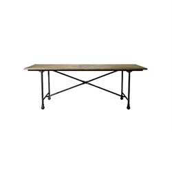 "86"" Vintage Wood & Metal Table 8831.0004M"