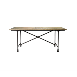 "72"" Vintage Wood & Metal Table 8831.0004S"