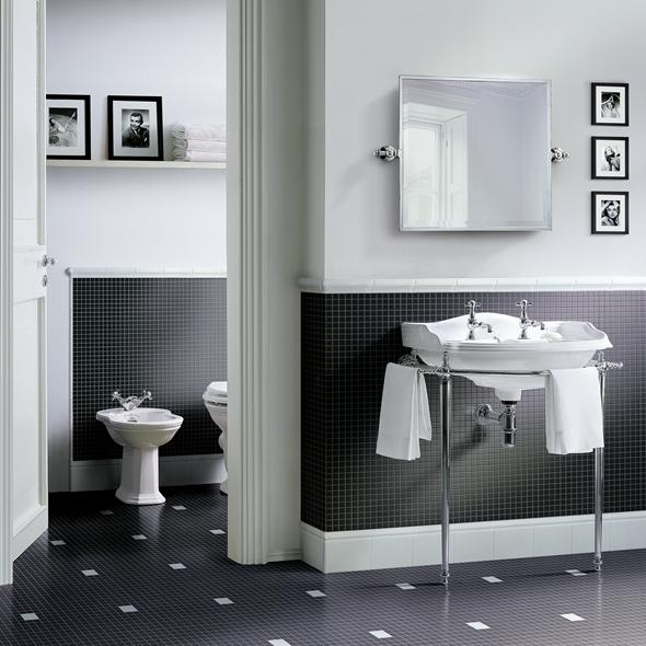 ванная черно белая фото